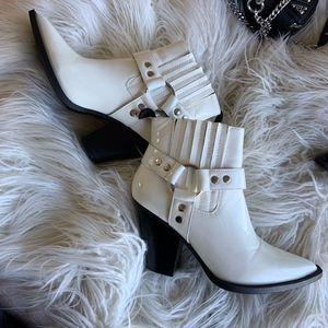 White zip booties